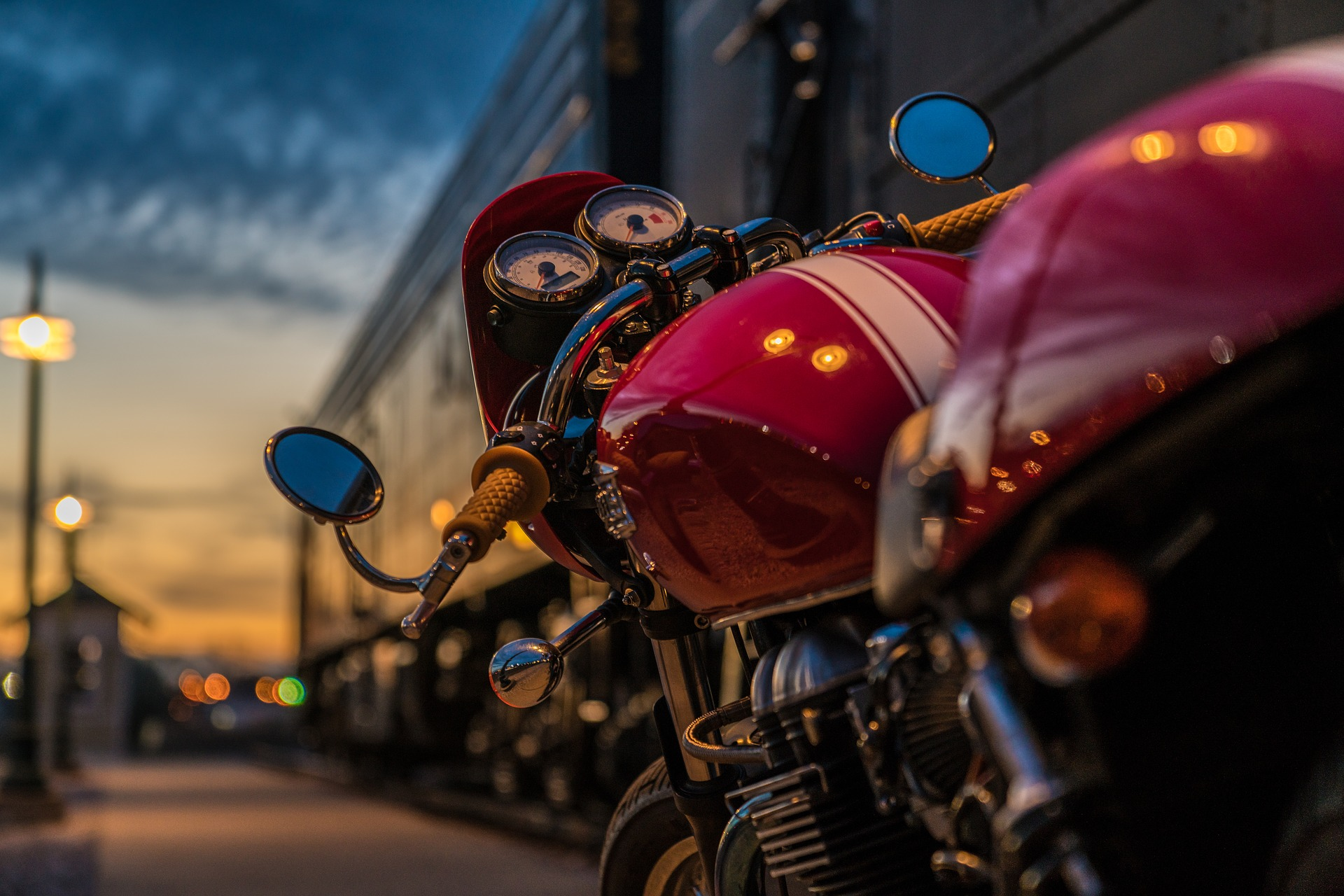 red motorcycle at night